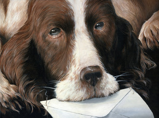 Dog holding letter