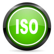 iso green glossy icon on white background