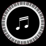 Circle of Piano Keys With Two Beamed Eight Notes