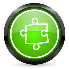 puzzle green glossy icon on white background