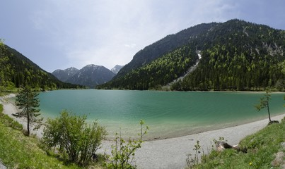 Plansee lake at the border of Austria and Germany