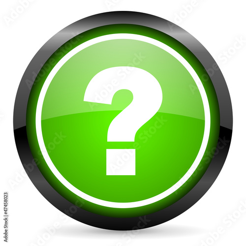 question mark green glossy icon on white background