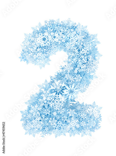 Number 2, frosty snowflakes - 47459652