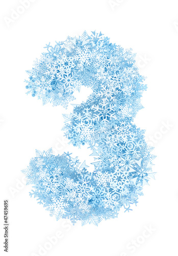 Number 3, frosty snowflakes - 47459695