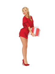 lovely woman in red dress with present