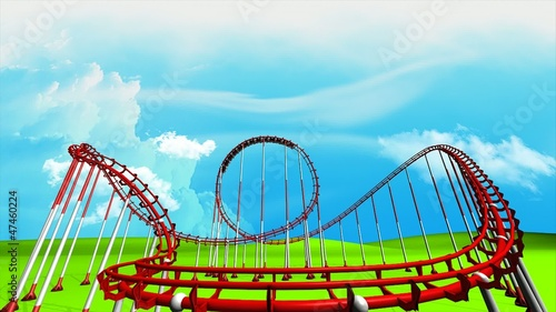 Fun park roller coaster animation.