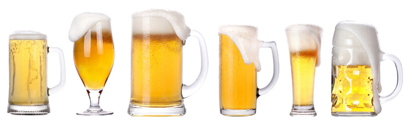 Frosty glass of light beer isolated set