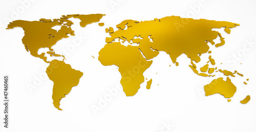 Aluminium Wereldkaart world map golden