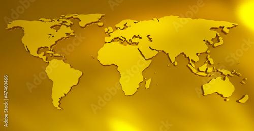 Staande foto Wereldkaart world map golden