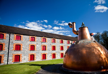 Whiskey distillery Old copper washback in Ireland