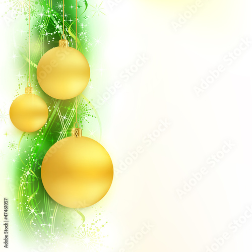 Green golden wavy pattern star border with Christmas balls