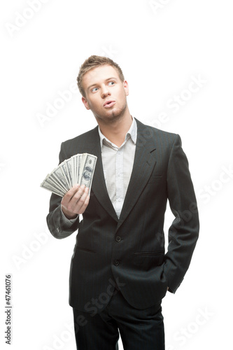 cheerful businessman holding money