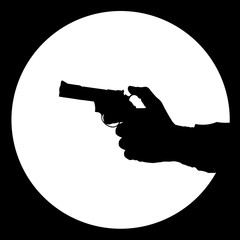Silhouette of man's hand  with gun on the black background