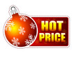 hot price label with christmas ball and snowflakes