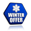 winter offer blue hexagon banner with snowflake symbol