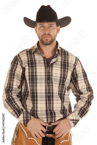 cowboy hold belt black hat