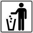 Schild weiß - Abfalleimer