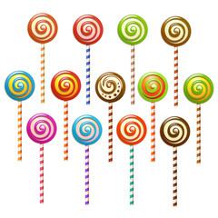 Lollipops over white background