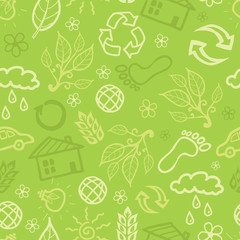 Vector eco environmental seamless pattern background with hand