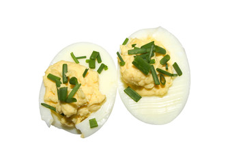 Boiled egg halves isolated on a white background