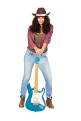 Cute Woman with Electric Guitar