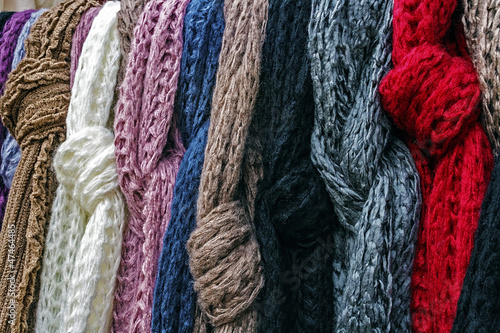 Wool scarves of various colors