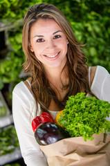 Female shopping organic