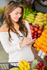 Woman with a shopping list