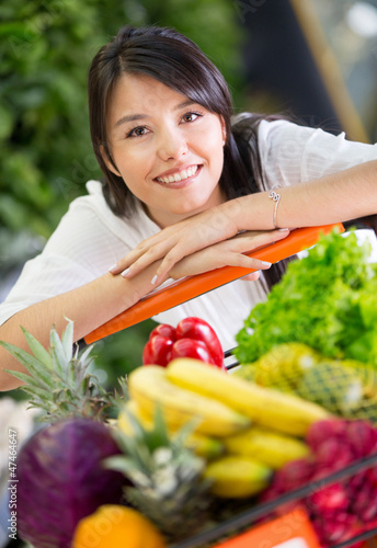 Healthy woman shopping
