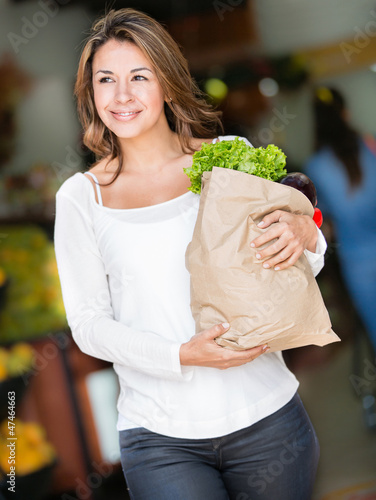 Happy woman shopping