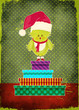 Christmas Greeting Card - cute Santa Clause Bird