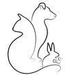 Cat, dog, bird, and rabbit logo vector