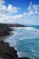 waves at Ajuy, eroded west coast of Fuerteventura