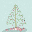 Hand drawn grunge illustration of christmas tree No. 1