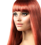 Red Hair Beauty Model. Beautiful Girl With Long Hair