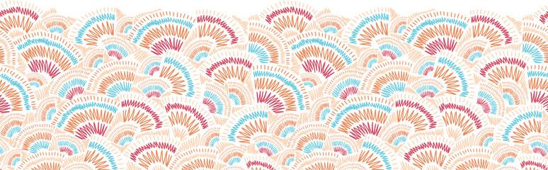 Vector textured geometric doodle horizontal seamless pattern