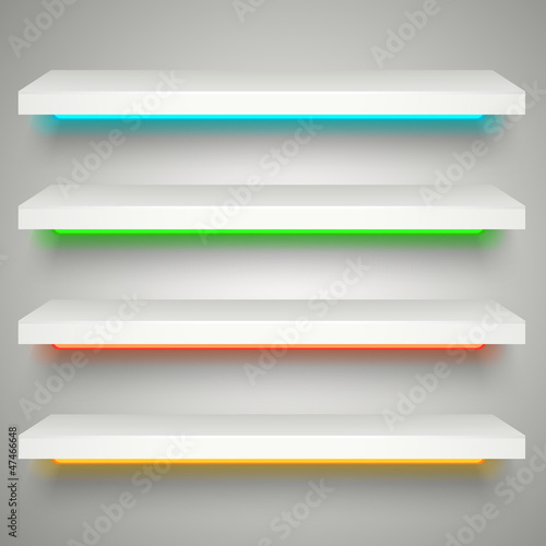 neon illumination shelves
