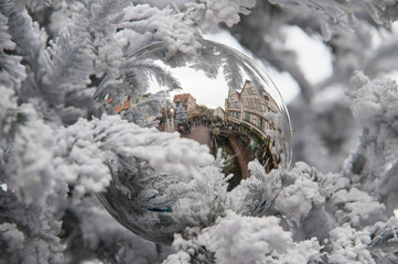 reflections in a christmas ball