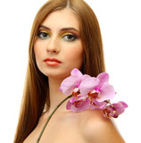 portrait of sexy young woman with pink orchid flower, isolated