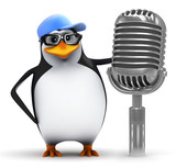 Penguin talks through the old microphone