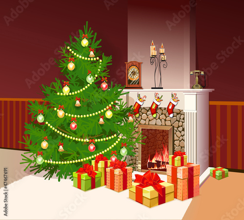 illustration of fireplace with gifts and decorated tree for chri