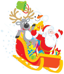 Santa, Reindeer and Snowman in a sleigh