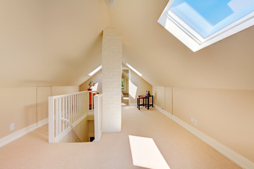 Bright clean attic in the small home.
