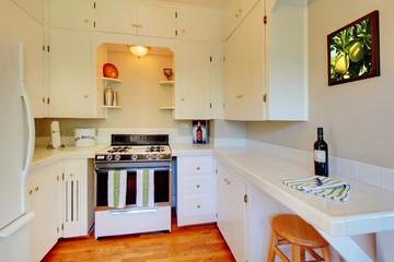 White kitchen with beige walls and cherry hardwood floor.