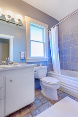 Blue bathroom with white cabinets with stone tiles