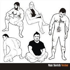 male body sketch vector