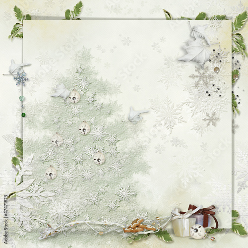 Art vintage Christmas greeting card