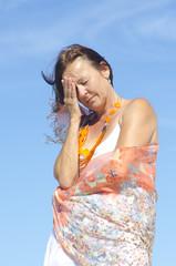 Senior woman migraine headache menopause