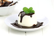 Panna cotta with chocolate sace and fresh mint