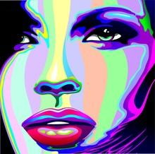 Portrait Psychedelic Rainbow-fille de visage de fille